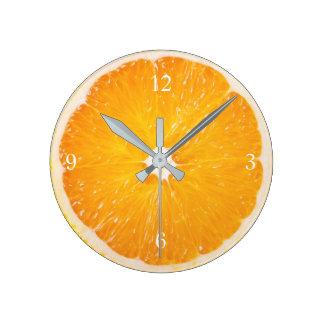 Slice Of Fresh Orange Round Clock