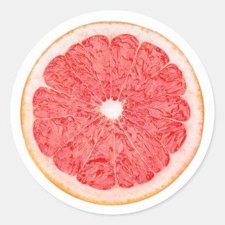 Slice of grapefruit round sticker