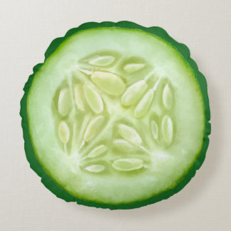 Slice Of Pickle Cucumber Round Pillow