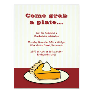 Slice of pumpkin pie on plate Thanksgiving dinner Card