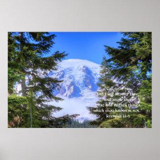 Slice of Rainier HDR Print w/Scripture Verse