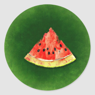 Slice of watermelon on green background classic round sticker