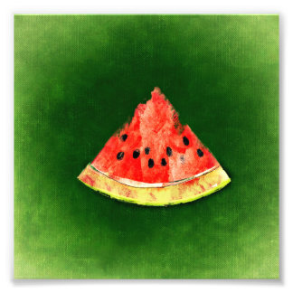 Slice of watermelon on green background photo print
