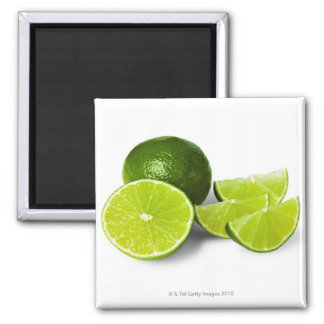 Sliced lime wedge, on white background, cut out magnet