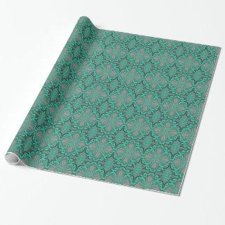 Sliced pomegranat, mint & gray, bohemian pattern wrapping paper