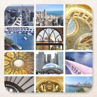 Slices of Chicago Square Paper Coaster
