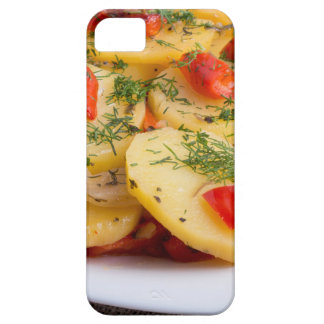 Slices of stewed potatoes and peppers on sackcloth iPhone 5 covers