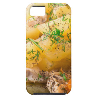 Slices of stewed potatoes, chicken, carrot iPhone 5 covers