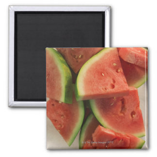 Slices of watermelon square magnet