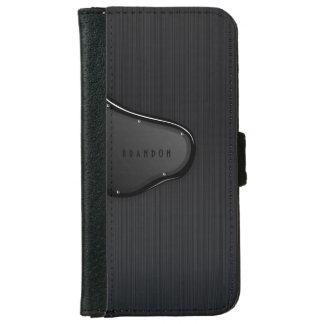 Slick Black Metallic Texture Monogram iPhone 6 Wallet Case