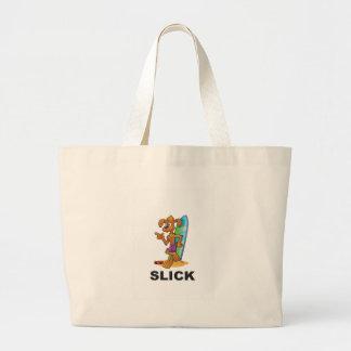 slick dog on surf large tote bag