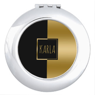 Slick Gold & Black Geometric Design Compact Mirror