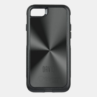 Slick Metallic Black Shiny Stainless Steel OtterBox Commuter iPhone 8/7 Case