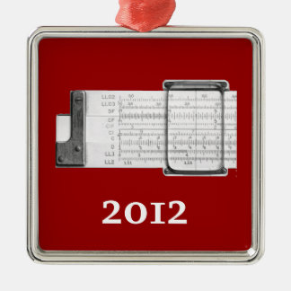 Slide Rule Metal Ornament