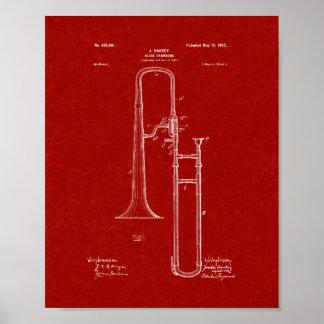 Slide-trombone Patent - Burgundy Red Poster