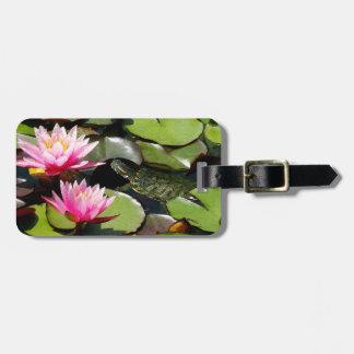 Slider Turtle Waterlily Flowers Pond Wildlife Luggage Tag