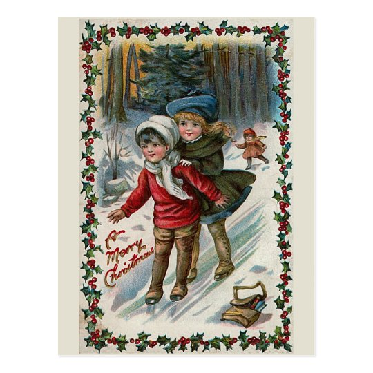 """Sliding down the Hill"" Vintage Christmas Postcard"