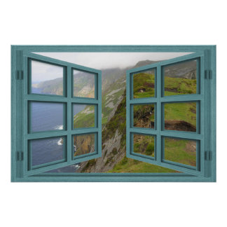 Slieve League Cliffs 6 Pane Open Window Poster