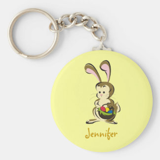Slightly-bemused Easter Bunny and basket of eggs Basic Round Button Keychain