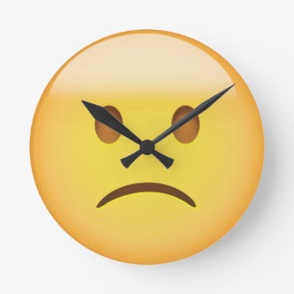 Slightly Frowning Face Emoji Round Clock