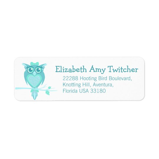 Slim graphic owl reply address labels