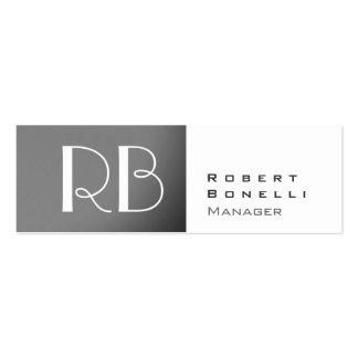 Slim Grey White Monogram Manager Business Card
