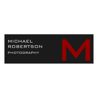 Slim Red Gray Monogram Photographer Business Card