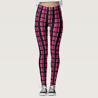 Sliming Pink and Black Plaid Strip Legging