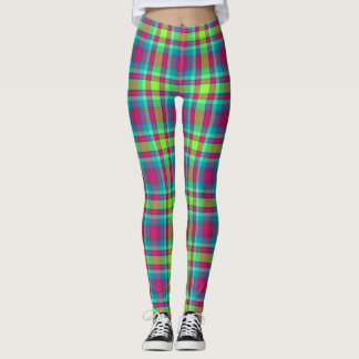 Slimming effect - fun, modern Scottish plaid look Leggings