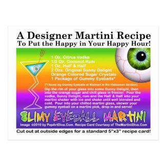 Slimy Eyeball Halloween Martini Recipe Postcard