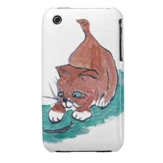 Slimy - Kitten Finds a Black Snail iPhone 3 Covers