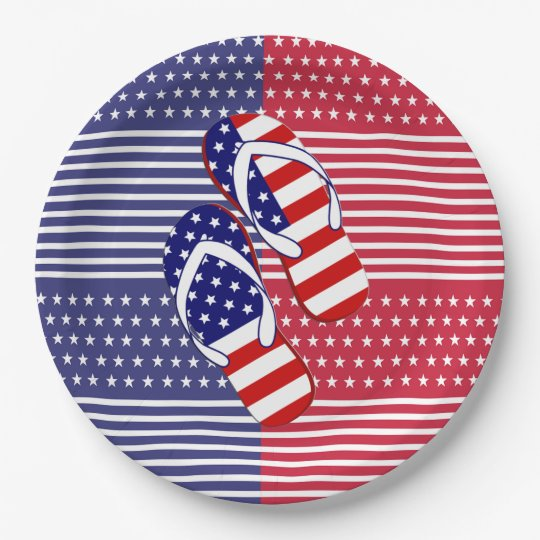 Slip On Over July 4th Party Paper Plates 9 Inch Paper Plate