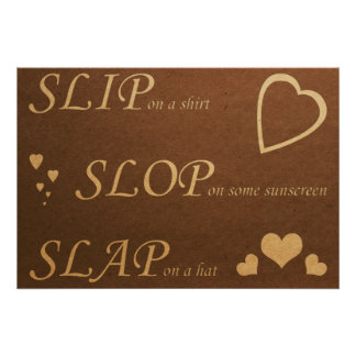 Slip Slop Slap Dark Poster-Replace Live Laugh Love Poster