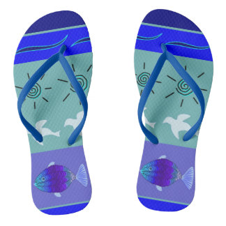 Slipper beach sea blue nature flip flops