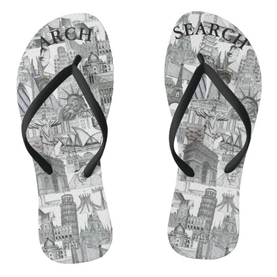 Slippers Arch Mural Search fine Straps Flip Flops