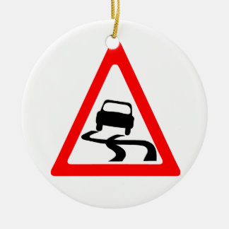 Slippery Road Warning Symbol Round Ceramic Ornament