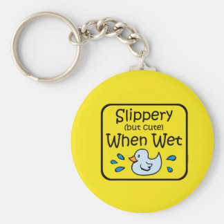 Slippery When Wet Baby Keychain