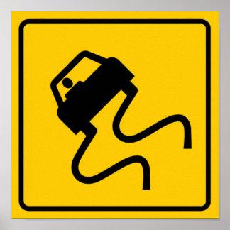 Slippery When Wet Highway Sign
