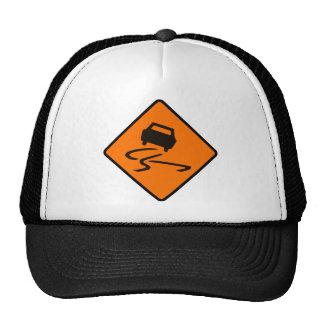 Slippery When Wet Road Traffic sign Australia Car Trucker Hat