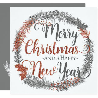 Sliver and Copper Christmas Wreath Flat Christmas Card