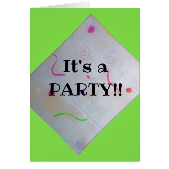 sliver and green party invitation