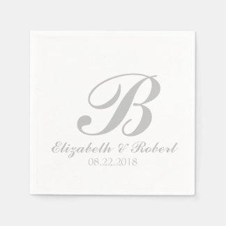 Sliver Gray White Wedding Monogram Napkin