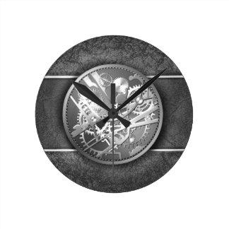 Sliver steampunk watch gears round clock