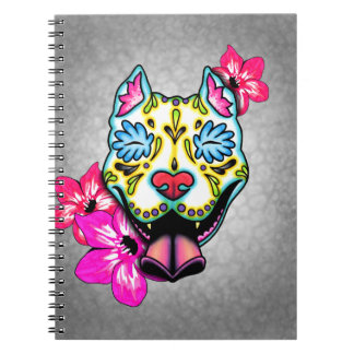 Slobbering Pit Bull Day of the Dead Sugar Skull Notebook