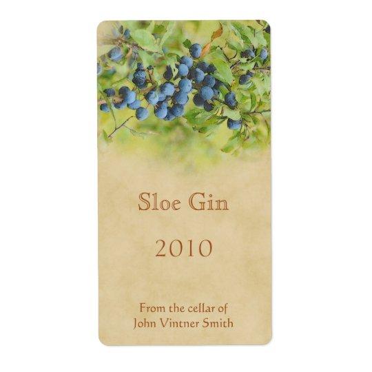 Sloe gin bottle label