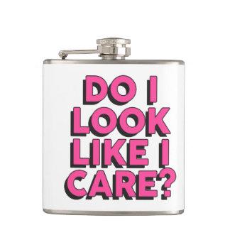 Slogan 'Do I Look Like I Care?' Pink Hip Flask
