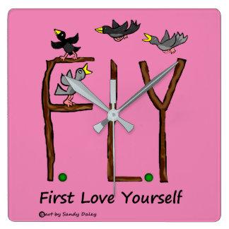 Slogan FLY First Love Yourself Clocks