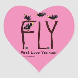 Slogan FLY First Love Yourself Heart Sticker
