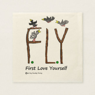 Slogan FLY First Love Yourself Paper Napkins