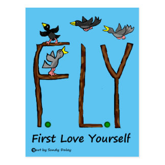Slogan FLY First Love Yourself Postcard